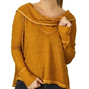 Free People Gold Waffle Knit Thermal Top